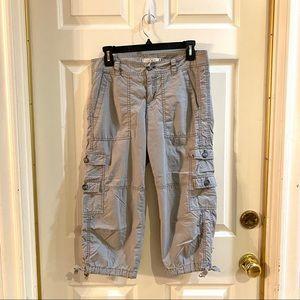 Ann Taylor Loft Gray Cargo Capri Pants